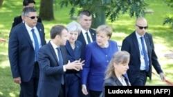 آنگلا مرکل، صدر اعظم آلمان، ترزا می، نخستوزیر بریتانیا، و امانوئل مکرون، رئیس جمهوری فرانسه در صوفیه