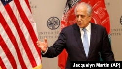 U.S. Special Representative for Afghanistan Reconciliation Zalmay Khalilzad speaks on the prospects for peace, at the U.S. Institute of Peace, in Washington on February 8.