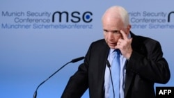 U.S. Senator John McCain speaks on the first day of the 53rd Munich Security Conference at the Bayerischer Hof hotel in Munich on February 17.