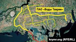 Схема гипотетического объединения Северо-Крымского и Каховского магистрального каналов якобы для их передачи в управление акционерного общества «Воды Таврии»