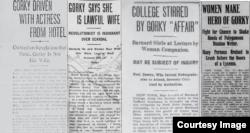 Заголовки американских газет: «Горький с актрисой выдворены из отеля», «Горький заявил, что она – его законная жена»