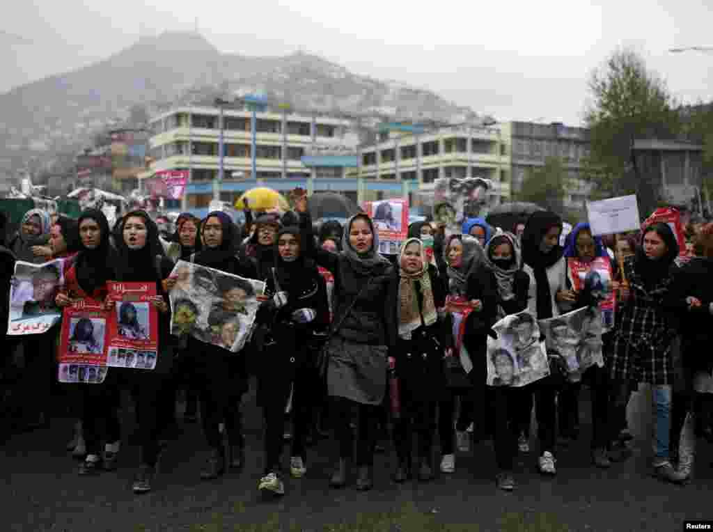 Women chant slogans during the November 11 protest in Kabul.