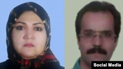 Political prisoners in Iran Hassan Sadeqi and his wife Fatemeh Mosanna. File Photos.
