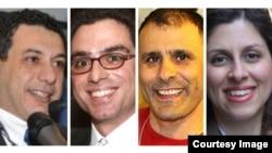 (R to L) Nazanin Zaghari-Ratcliffe, British citizen detained in Iran, Iranian American citizen Robin Shahini, Siamak Namazi, the Head of Strategic Planning at Crescent Petroleum and Nizar Zakka, Secretary General, The Arab ICT Organization.