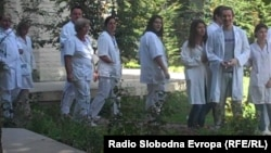 Протест на лекарите во Клиничкиот центар во Скопје.