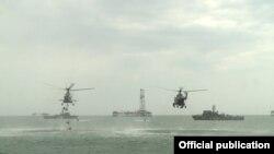 Каспий теңізіндегі әскери жаттығу (Көрнекі сурет).