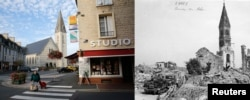 """Деревенька Онэ-сюр-Одон на севере Франции, полностью разрушенная во время боев в 1944 году и восстановленная в 1950-е на средства, выделенные в рамках """"плана Маршалла"""""""