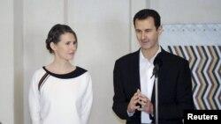 بشار اسد، رئیس جمهوری سوریه به همراه همسرش اسما اسد