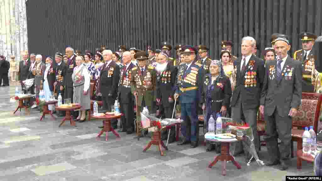 Veterans mark Victory Day in the Tajik capital, Dushanbe.