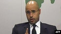 Сын Муамара Каддафи выступает по телевидению