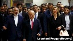 موگرینی، آمانو و ظریف در روز اجرایی شدن برجام