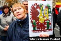 Учасниця віча «Зупинимо капітуляцію!». Київ, 6 жовтня 2019 року