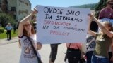 """Protest đaka u Travniku protiv programa razdvajanja """"dve škole pod jednim krovom"""", 2017."""
