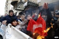 Акция протеста у посольства Турции в Москве, конец ноября 2015 года