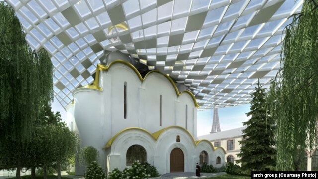 Russia reportedly spent 70 million euros on the 4,500 square meters of land where the cathedral is to be built. (artist's impression)