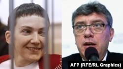 Boris Nemtsov (djathtas) dhe Nadiya Savchenko.
