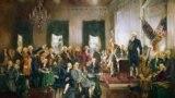 Говард Чандлер Кристи. Подписание Конституции Соединенных Штатов Америки. Филадельфийский конвент, председатель Джордж Вашингтон