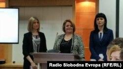 Прес конференција на Специјалното јавно обвинителство (СЈО). Обвинителките Ленче Ристoска, Катица Јанева и Фатиме Фетаи.