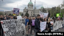 Protestat në Beograd, 18 prill