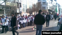 High-school students gather to attend pro-government demonstration in Tabriz on February 11.
