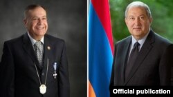 Президент Армении Армен Саркисян (справа) и профессор Йозеф Бабикян