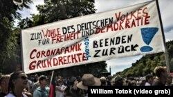 Proteste împotriva restricțiilor din perioada pandemiei, Berlin, 1 august 2020