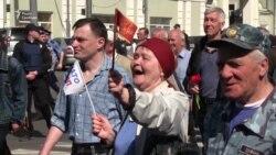 У Харкові мітингували під червоними стягами та з антинатовськими гаслами (відео)