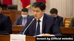 Улукбек Марипов во время рассмотрения его кандидатуры на должность премьер-министра в профильном комитете Жогорку Кенеша. 2 февраля 2021 года.