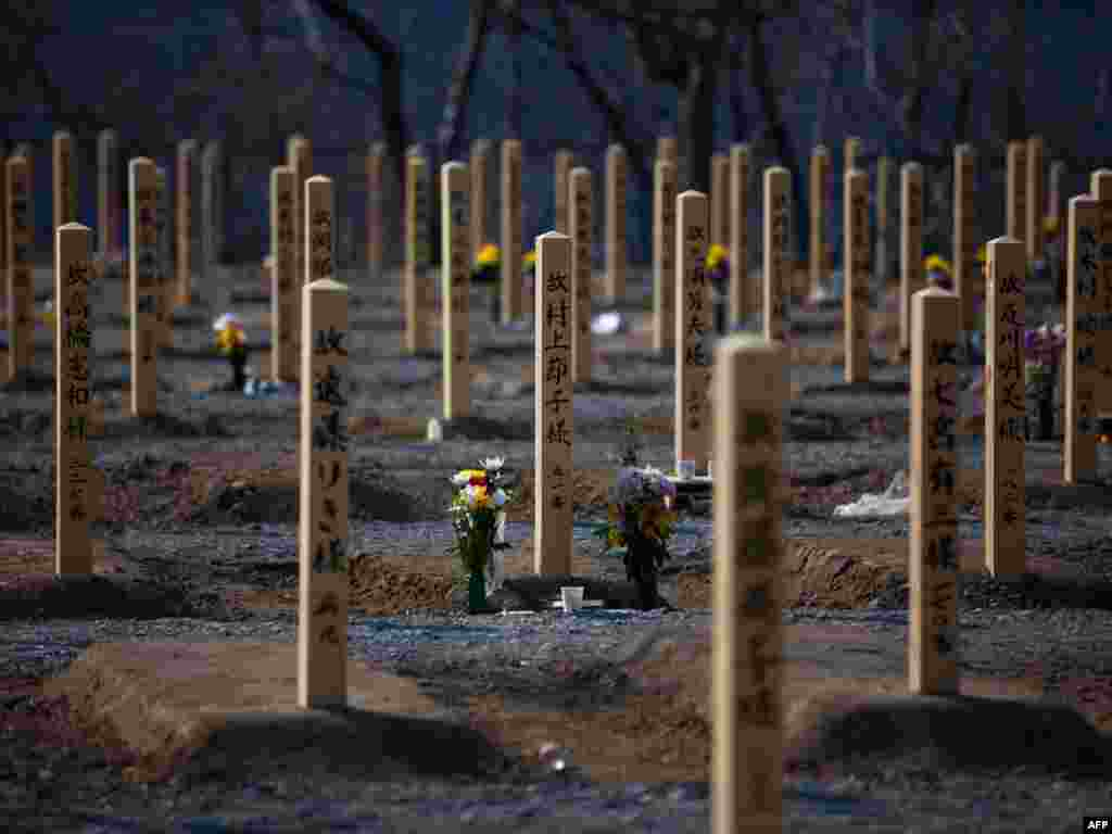 Wooden grave markers for tsunami victims stick out of the ground following their recent burials due to the lack of crematoriums in the town of Onagawa in Miyagi Prefecture on April 13. Japanese usually cremate their dead, but the normal system has been unable to cope with the impact of the March 11 earthquake and tsunami that killed thousands along the northeastern coast of the country. Photo by Yasuyoshi Chiba for AFP