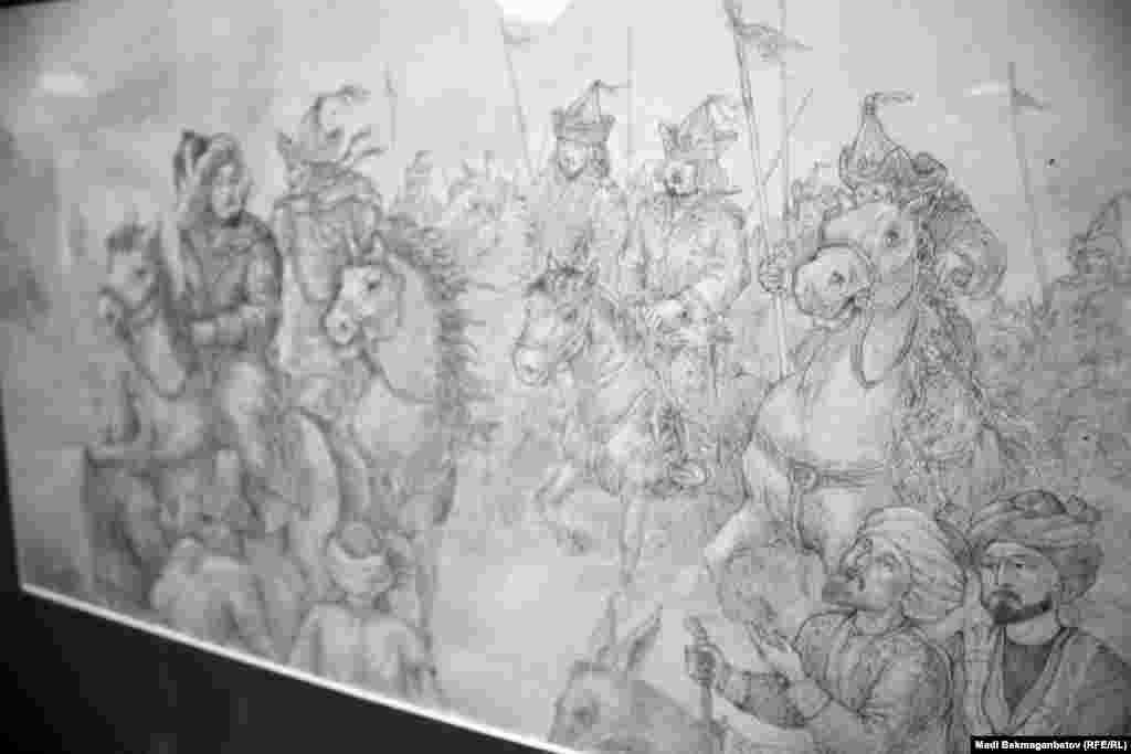"""Б. Оспановтың """"Ақсақ Темір ізімен"""" циклының картинасы. Астана, 17 қыркүйек 2015 жыл."""