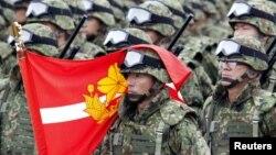 Военнослужащие Сил самообороны Японии на параде