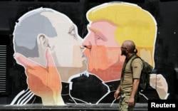 Графіті, що зображує Володимира Путіна та Дональда Трампа. Вільнюс, червень 2016 року
