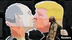 Donald Trump və Vladimir Putinə çəkilmiş qrafiti, Vilnius, 1 iyun, 2016