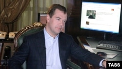 Russia -- Russian President Dmitry Medvedev records his first video address for a new blog, at the presidential residence outside Moscow in Gork on 22Apr2009
