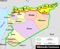 Жовтим позначені території Сирії, переважно населені курдами