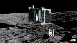 """67P кометасына қонып тұрған """"Фила"""" аппаратының алдын ала жасалған суреті."""