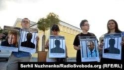 Акція в день річниці суду над Олегом Сенцовим та Олександром Кольченком, серпень 2016 року