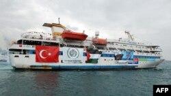 """Турецкий корабль Mavi Marmara, одно из судов """"Флотилии свободы"""", направлявшейся к берегам Газы."""