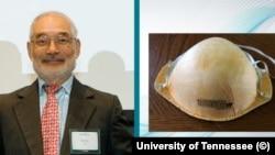 Доктор Питър Цаи и маската, чийто филтър е изобретил. Колаж на Университета Тенеси.