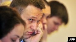 Russian opposition leader and anticorruption blogger Aleksei Navalny attends the hearing of his case in a court in the northern Russian city of Kirov on April 25.