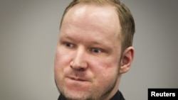 Anders Behring Breivik in court in Oslo