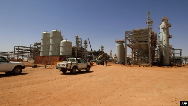 An undated photo of vehicles parked at the In Amenas gas field, jointly operated by British oil giant BP, Norway's Statoil, and state-run Algerian energy firm Sonatrach, in eastern Algeria near the Libyan border.