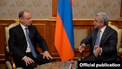 Armenia - President Serzh Sarkisian (R) meets with Nikolay Patrushev, secretary of Russia's Security Council, in Yerevan, 6Mar2017.