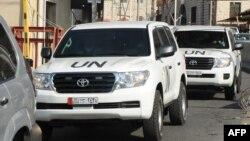 Сирияда химиялық қару қолданылғанын тексеруге барған БҰҰ сарапшыларының көліктері. Дамаск, қыркүйек 2013 жыл.