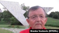 Sixty-two-year-old Rasko Tanasijevic at the Sumarice war memorial in Kragujevac on July 31