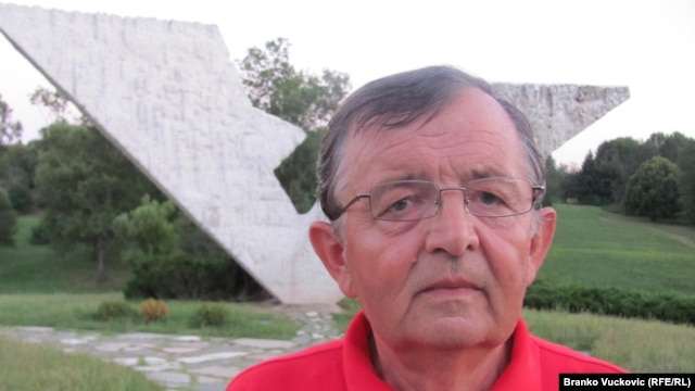 Sixty-two-year-old Rasko Tanasijevic at the Sumarice war memorial in Kragujevac on July 31