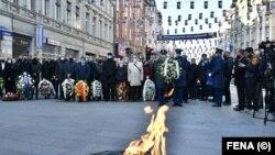 Delegacije ispred Vječne vatre u Sarajevu u povodu Dana držabnosti BiH, 25. novembra 2020.