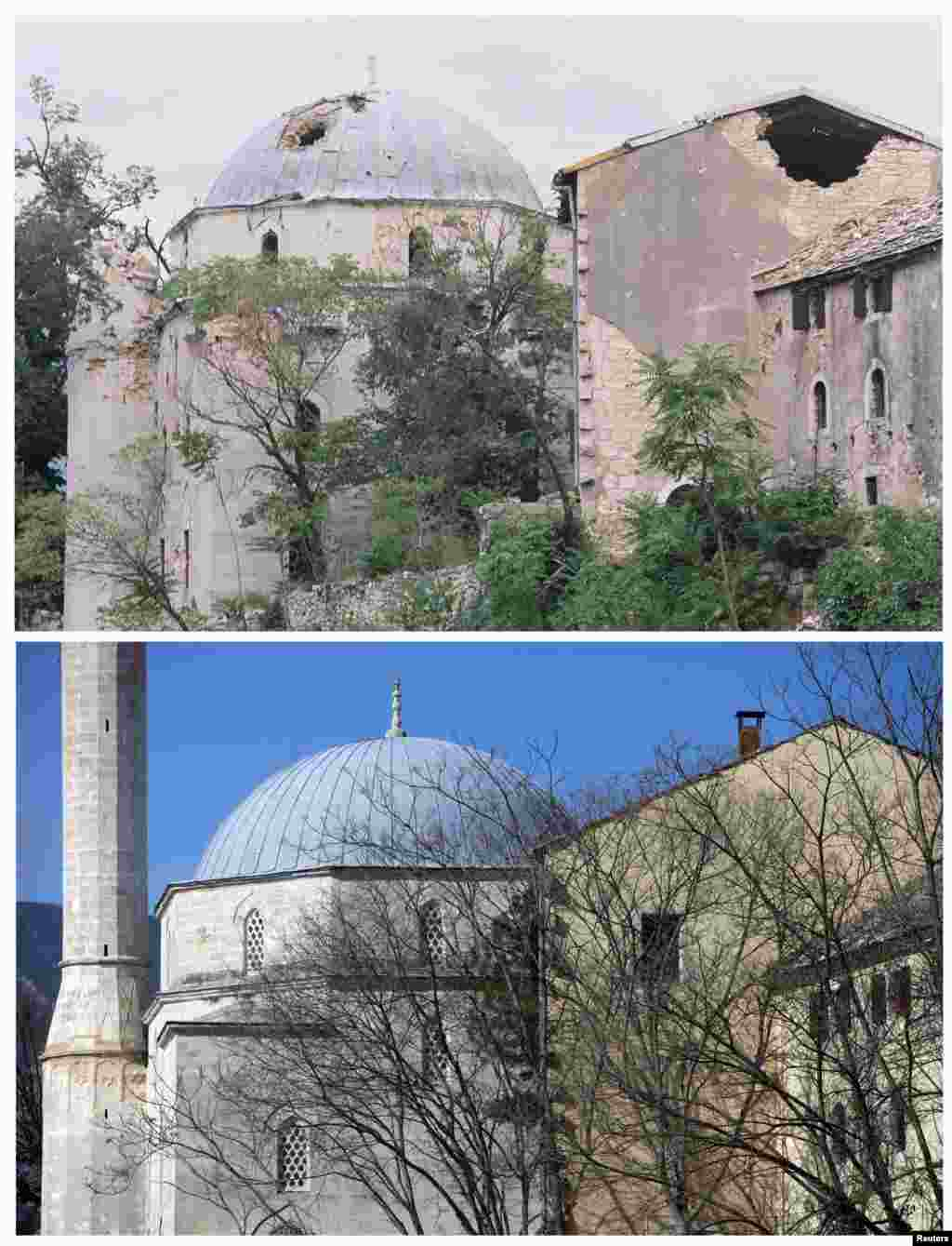 The Mehmed Pasina Mosque in Mostar is seen damaged in June 1993. Beneath it is the mosque as it looks today.