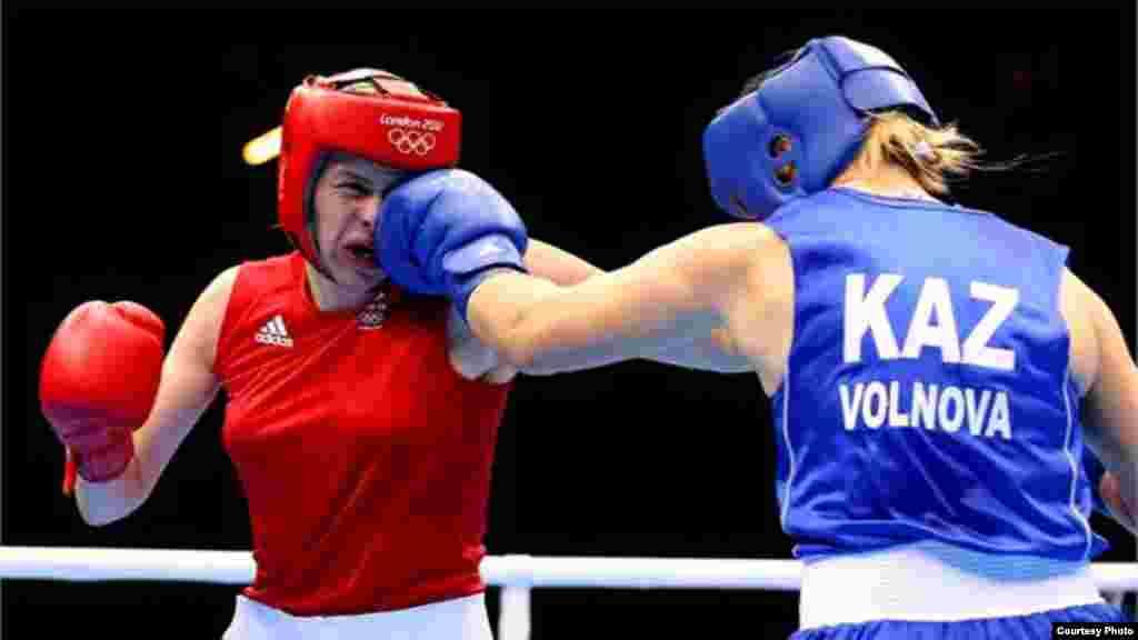 Қазақстан боксшысы Марина Вольнова Лондон олимпиадасында қола жүлдеге ие болды. 10 тамыз. 2012 жыл. Сурет олимпиада ойындарының ресми сайтынан алынды.