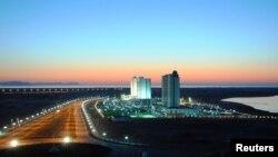 The Caspian Sea town of Awaza has been turned into a glitzy resort.